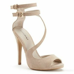 ShoeMint  Women's Strappy Suede PeepToe High heels